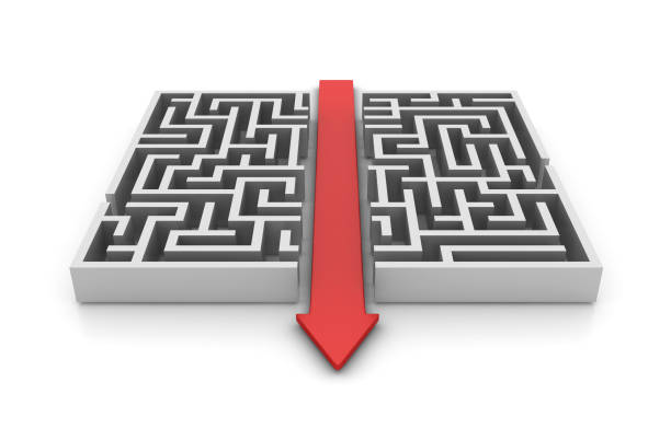 Maze with Arrow Shortcut Solution - 3D Rendering stock photo