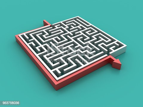 istock Maze with Arrow Shortcut Solution - 3D Rendering 953758036
