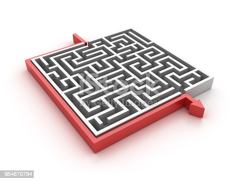 istock Maze with Arrow Shortcut Solution - 3D Rendering 954670794