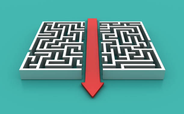maze with arrow shortcut solution - 3d rendering - maze stock photos and pictures