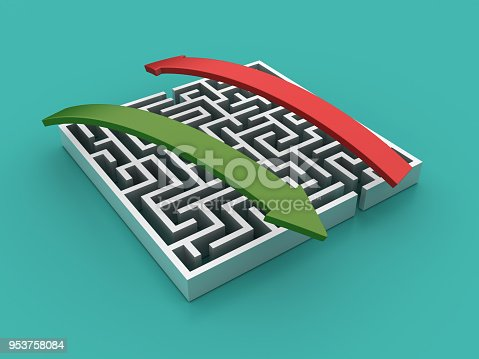 istock Maze with Arrows - 3D Rendering 953758084