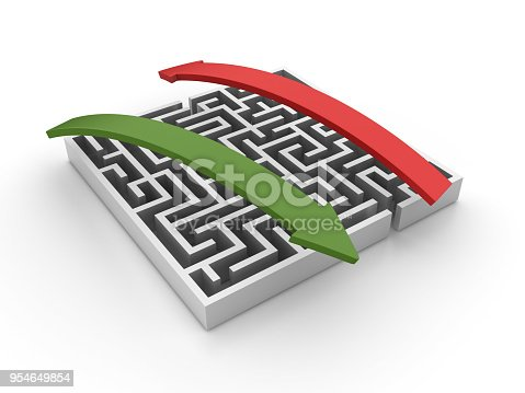 istock Maze with Arrows - 3D Rendering 954649854