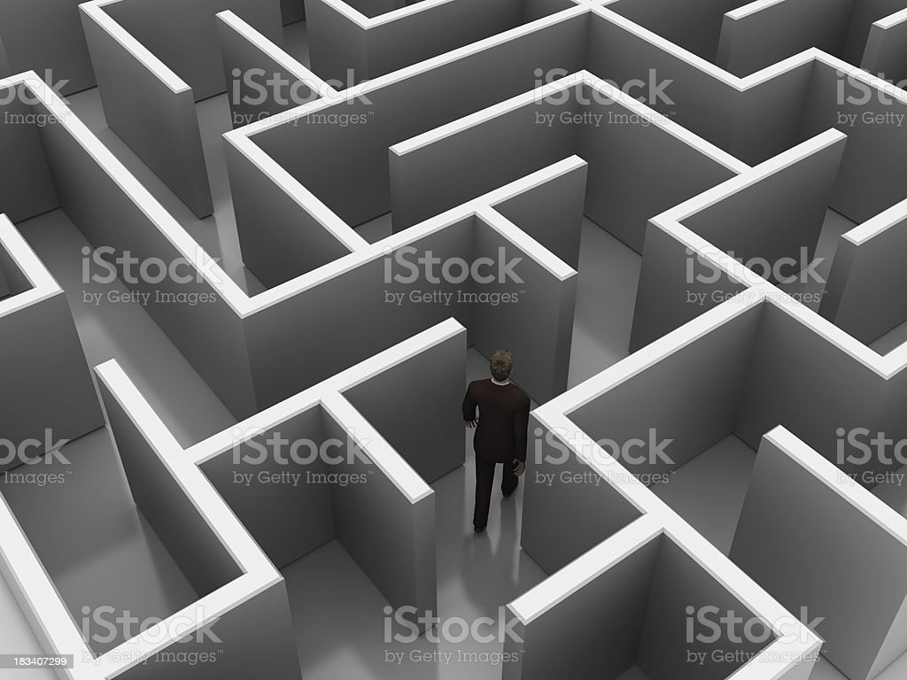 3D Maze with Businessman stock photo