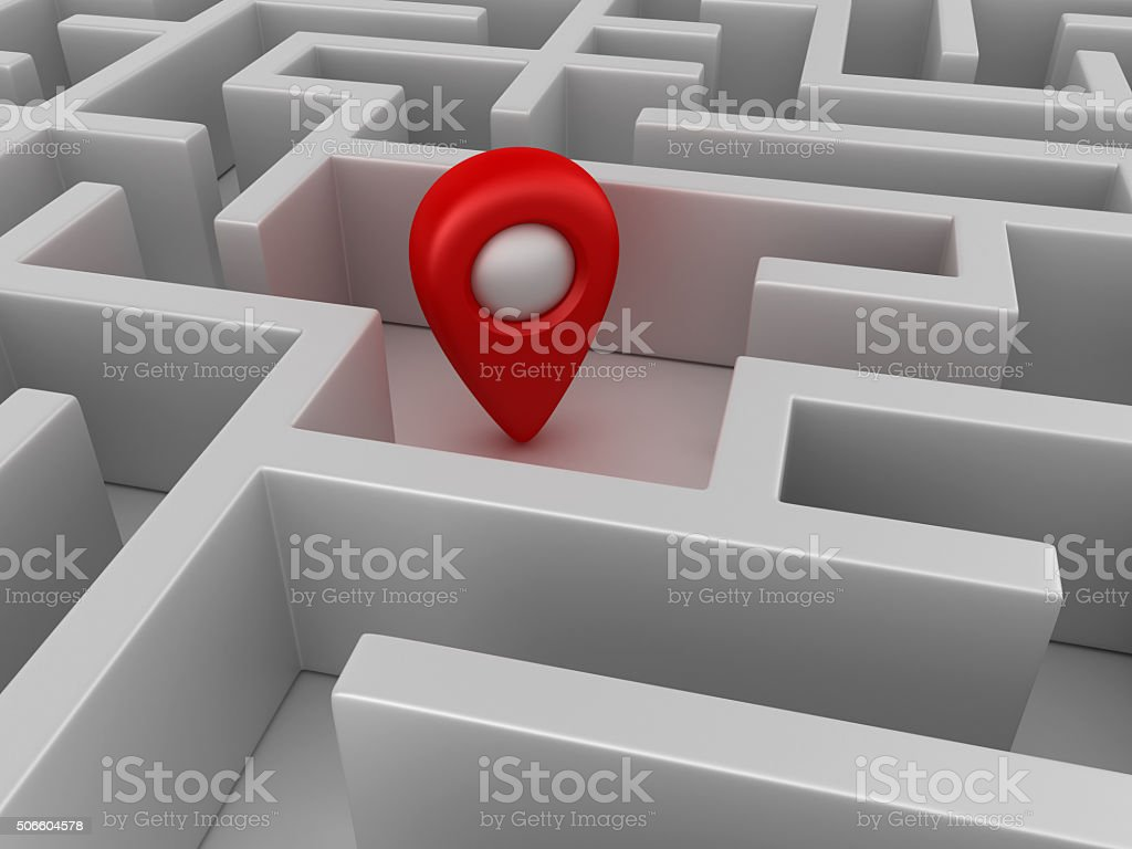 Maze with Gps Marker in Center stock photo