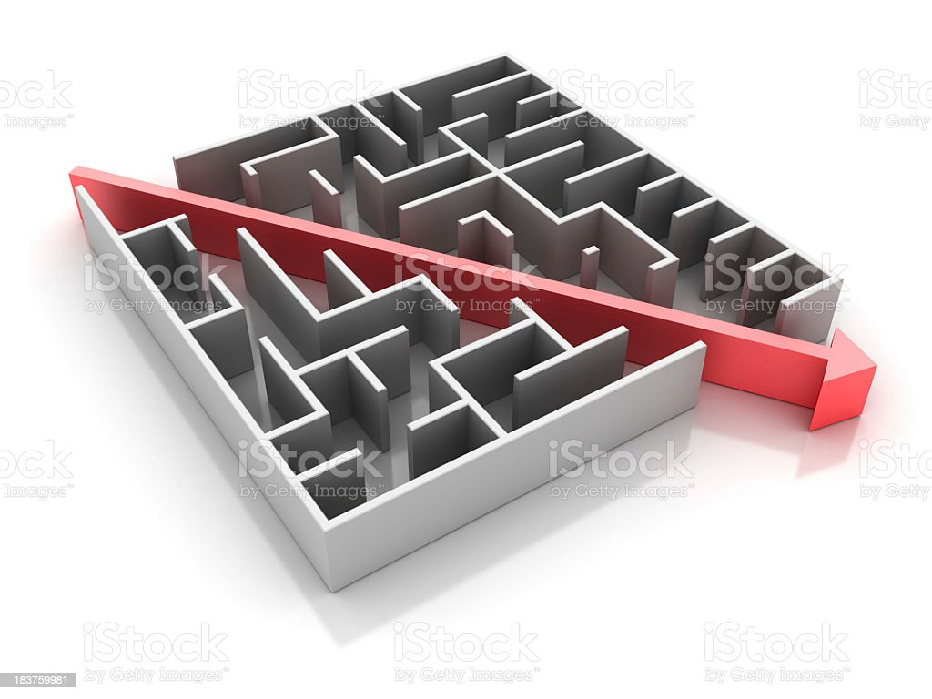 Maze with Shortcut Path. stock photo