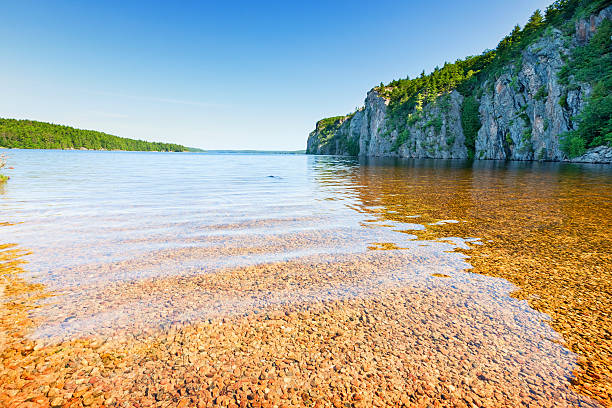 mazinaw lake and rock at bon echo provincial park ontario - provincial park stock photos and pictures