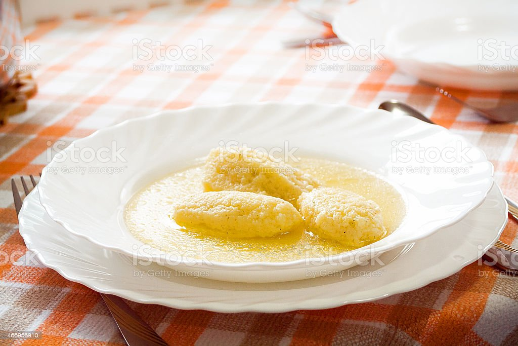 Maztah ball soup stock photo