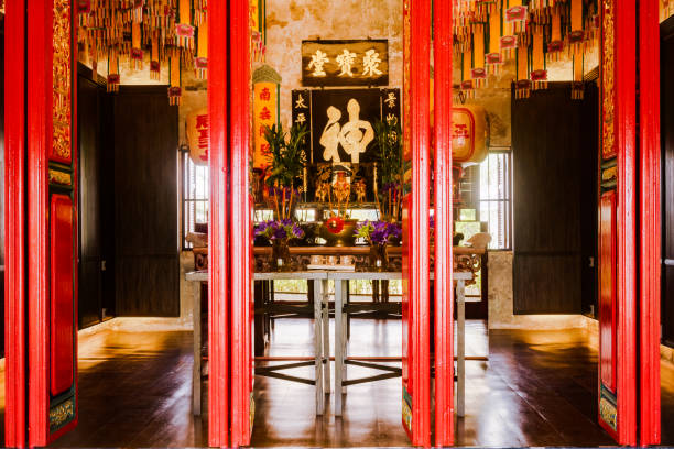 Mazu Shrine, heritage of chinese at LHONG 1919, new tourist attraction vintage landmark with Chinese old building and art in Bangkok, Thailand. Bangkok, Thailand - 16 March 2018 : Mazu Shrine, heritage of chinese at LHONG 1919, LHONG 1919 is new tourist attraction vintage landmark with Chinese old building and art in Bangkok, Thailand. 1910 1919 stock pictures, royalty-free photos & images