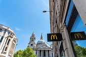 Mc Donald banner against St Paul Cathedral in London