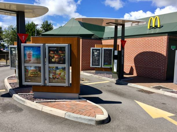 Mc Donald's Restaurant and drive through stock photo