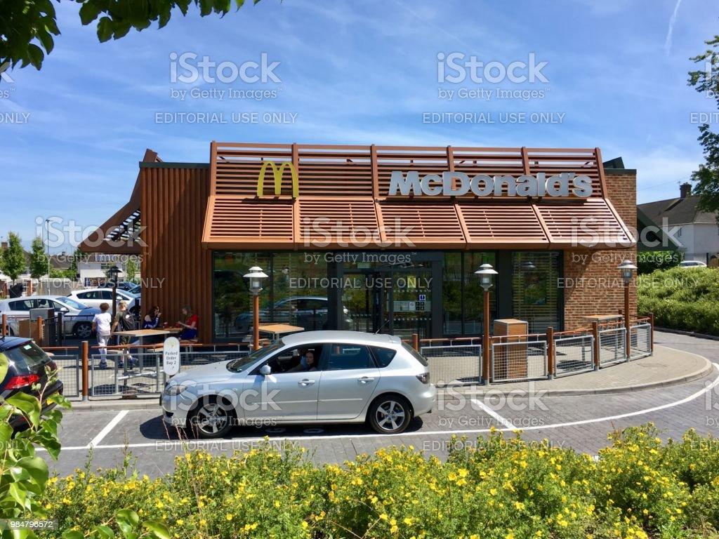 Mc Donald's Restaurant - drive though stock photo