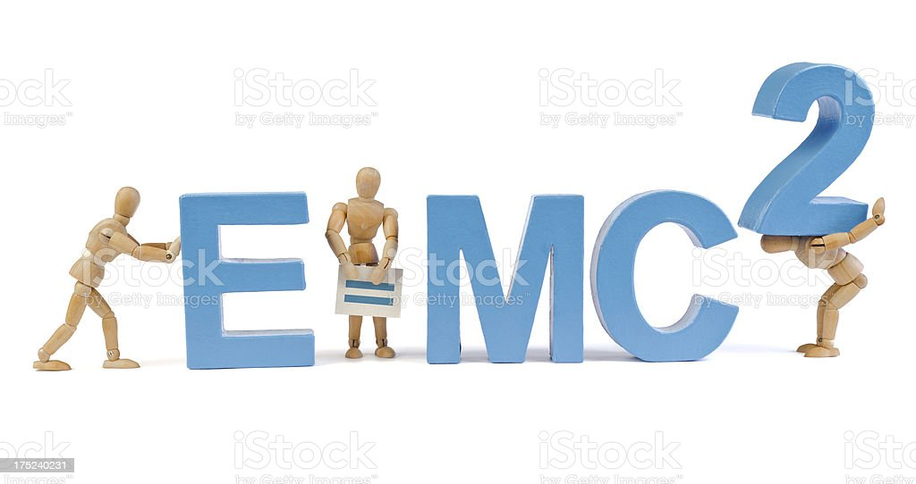 E=mc2 - Wooden Mannequin demonstrating this word stock photo