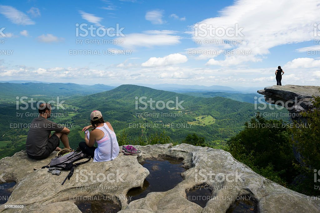 McAfee Knob on Catawba Mountain, Appalachian Trail, Virginia stock photo