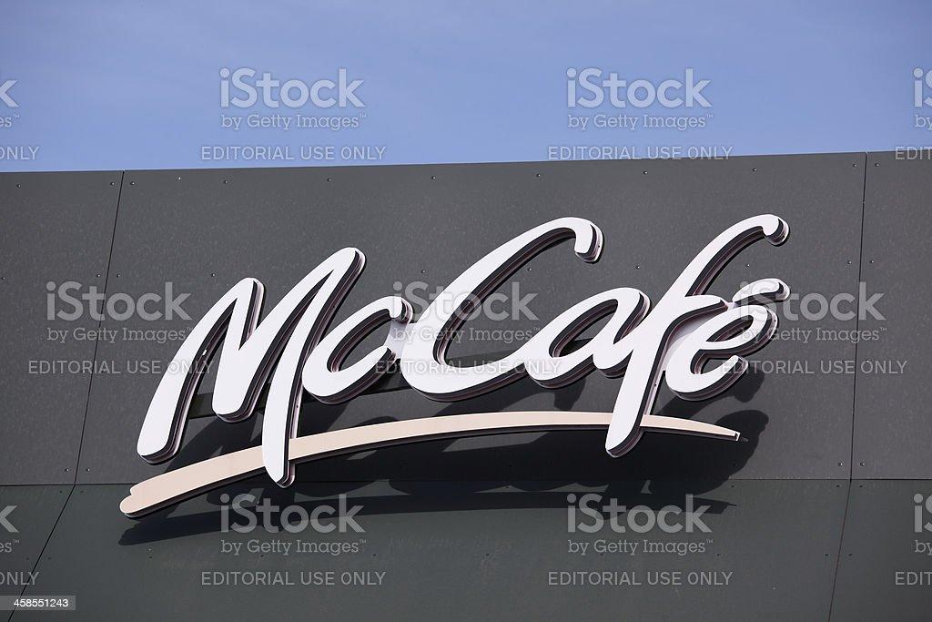 McCafé sign on blue sky. royalty-free stock photo