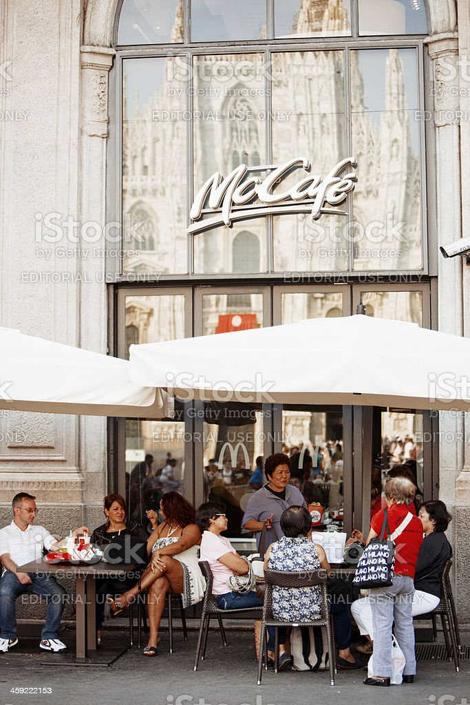 McCafe at Piazza del Duomo with Cathedral reflection, Milan, Ita stock photo