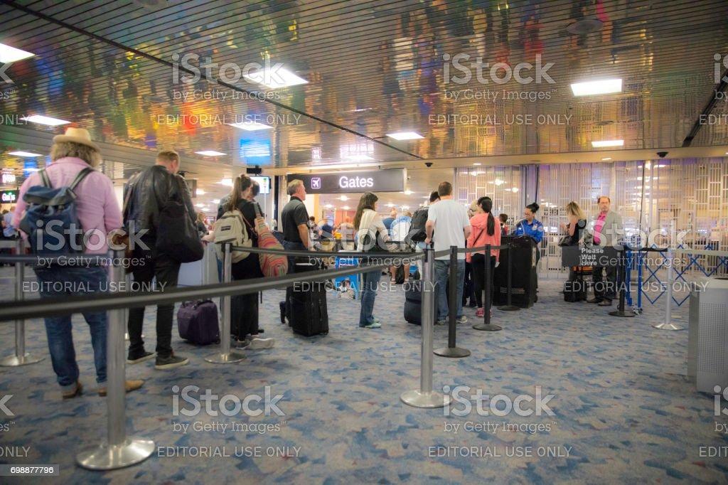 McCarran International Airport, Las Vegas TSA security check point stock photo