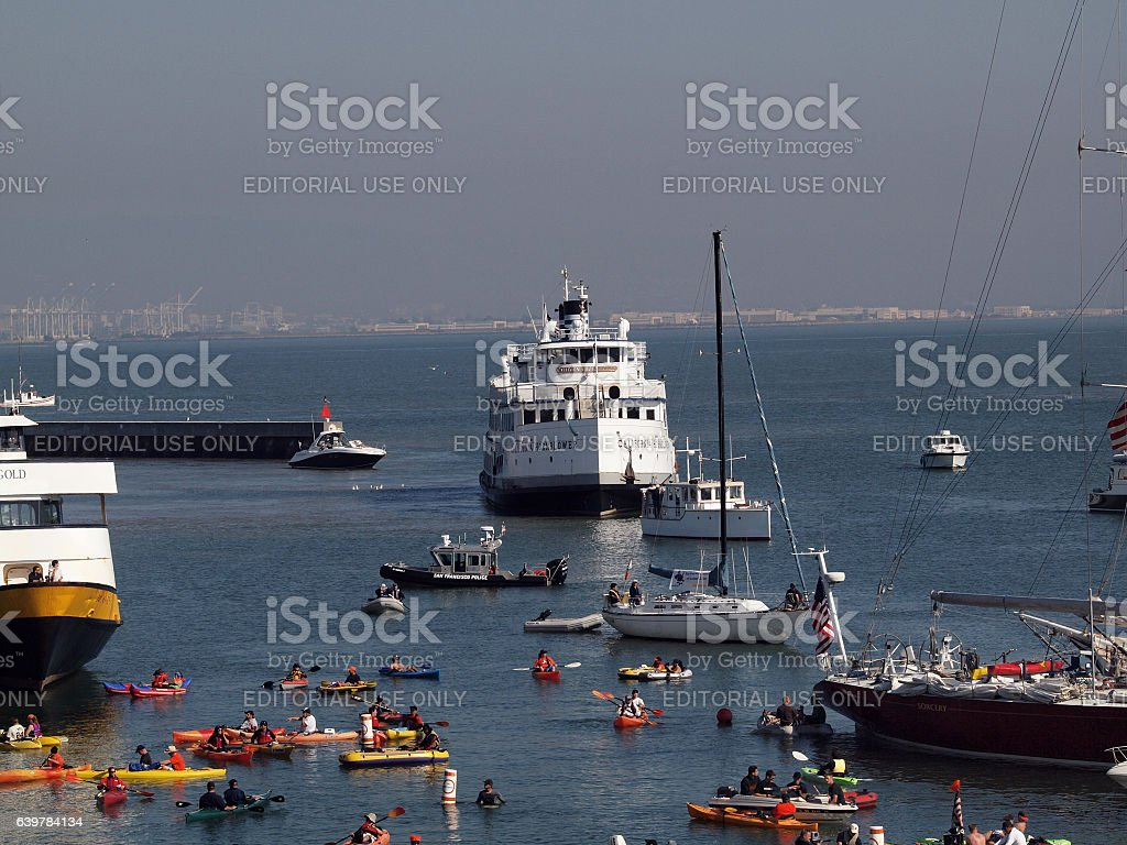 McCovey Cove fill with boats, kayaks, and people having fun stock photo
