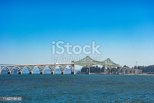 Stock photograph of McCullough Memorial Bridge and U.S. Route 101 in Coos Bay Oregon USA