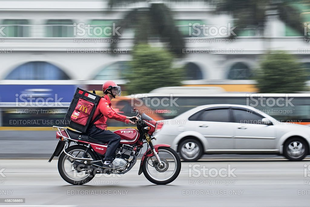 McDonald home delivery in China. stock photo