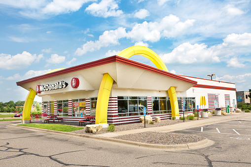 An old fashion, 1950's vintage McDonald's fast food restaurant store front, with the Golden Arches.