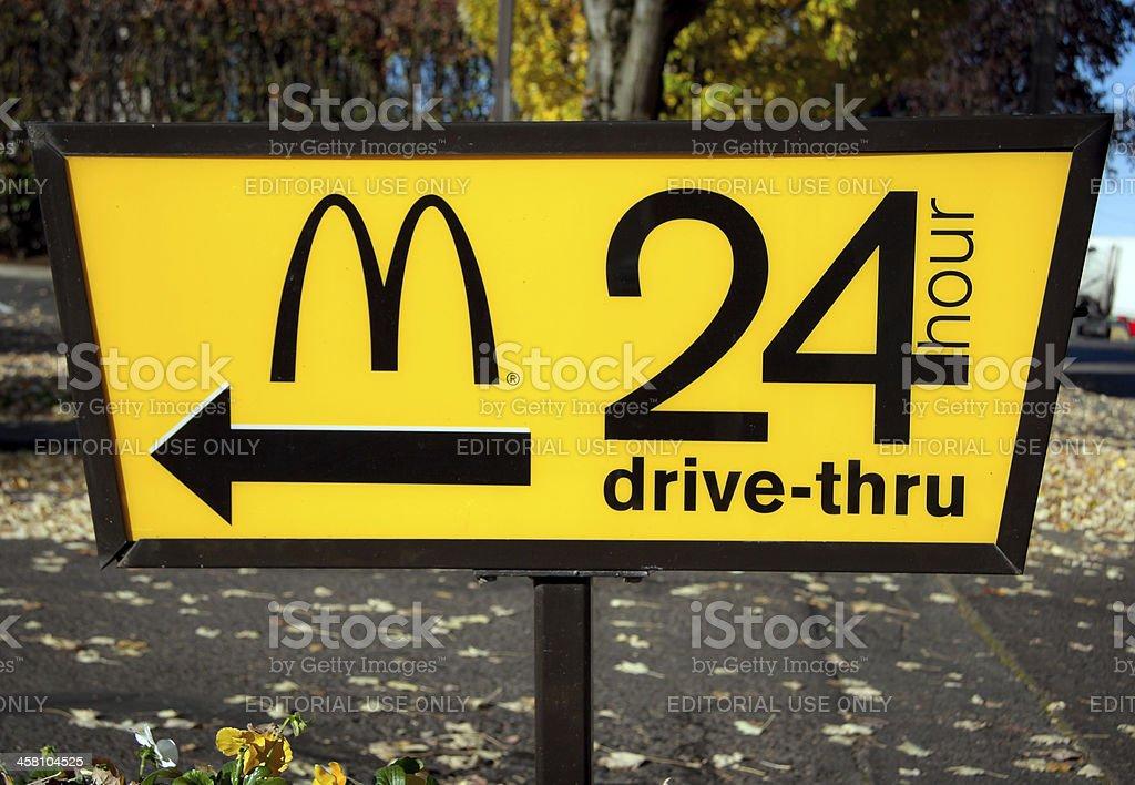 McDonald's 24-Hour Drive-Thru Sign stock photo