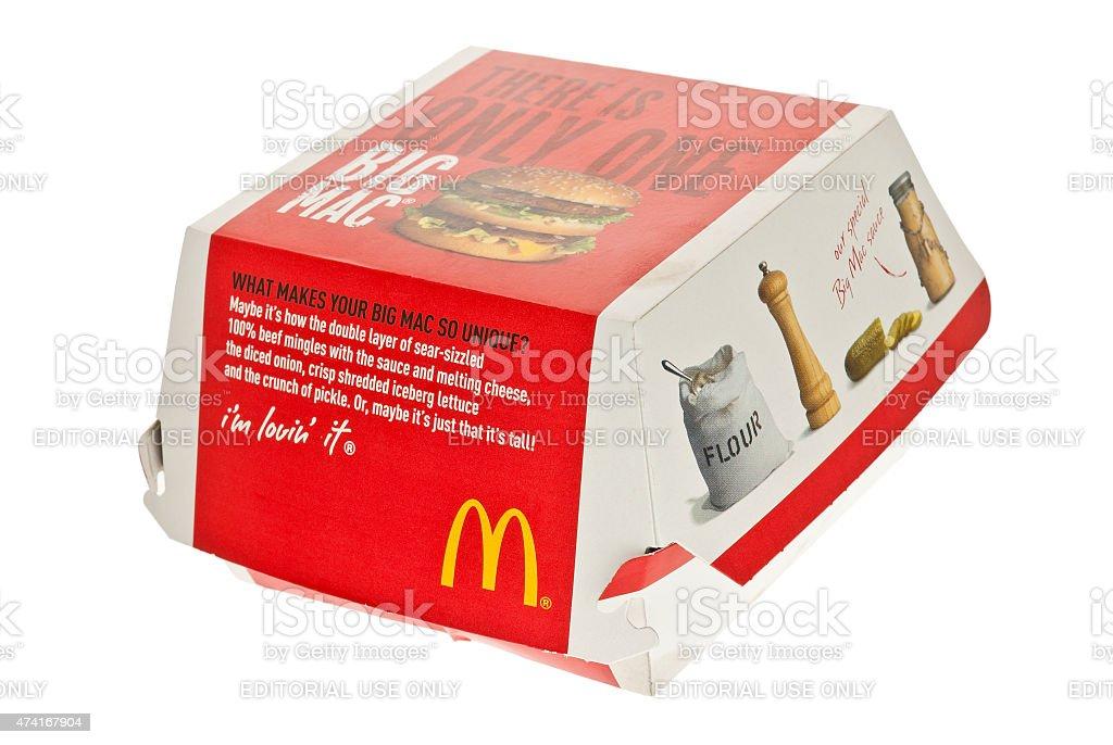 McDonalds Big Mac dans la boîte - Photo