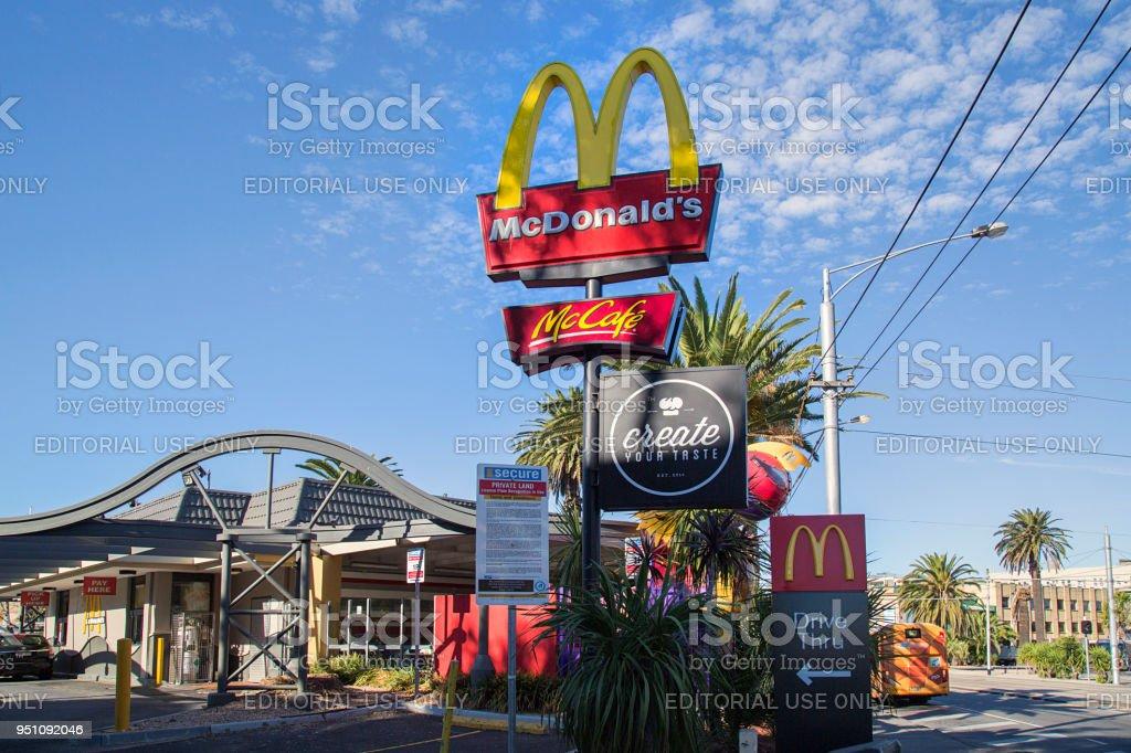 McDonalds Drive Thru and McCafe stock photo