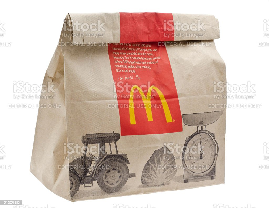 McDonald's Fast Food Meal in Brown Paper Bag stock photo