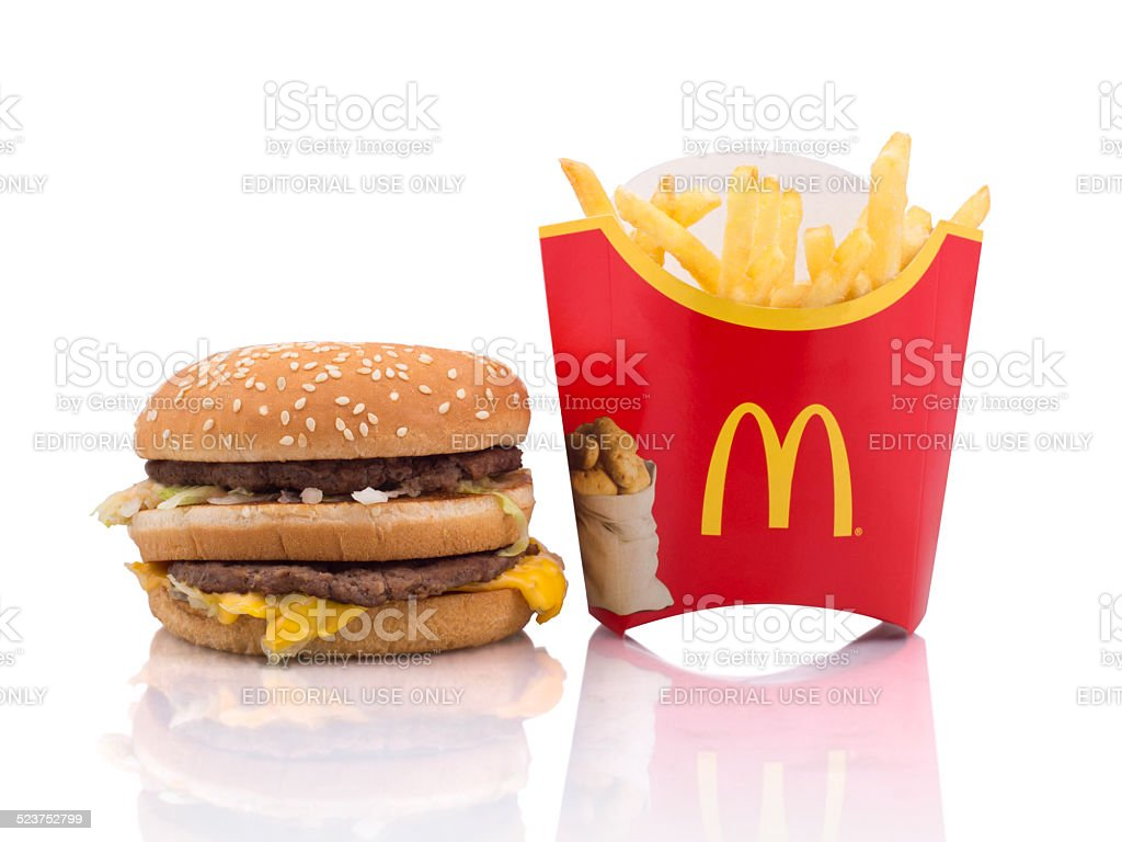 McDonald's fries and hamburger stock photo