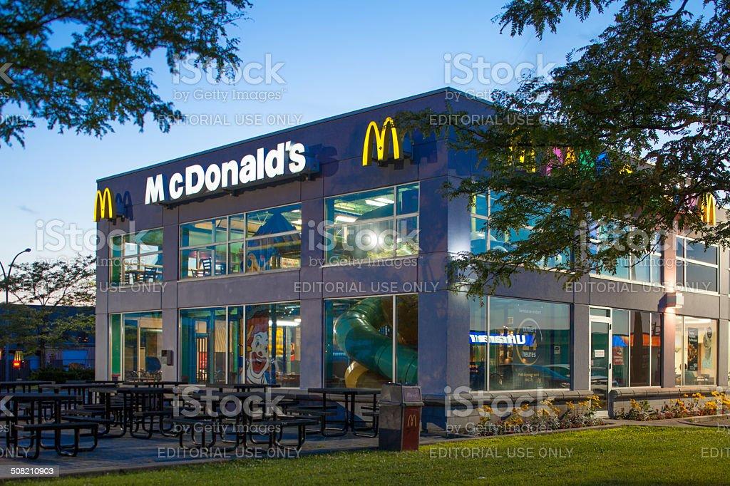 McDonald's restaurant at dusk stock photo