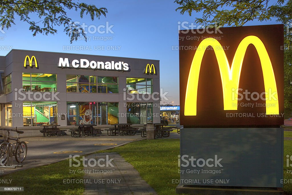 McDonald's Restaurant at Dusk stock photo