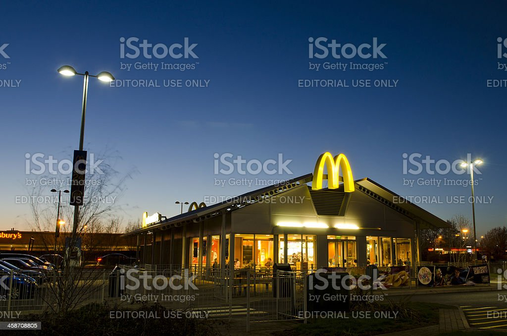 McDonald's restaurant at dusk, United Kingdom stock photo