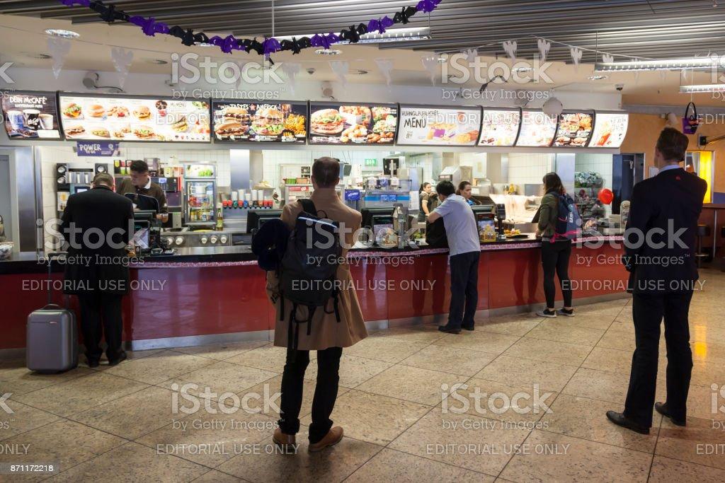 McDonalds restaurant at the Frankfurt Airport stock photo