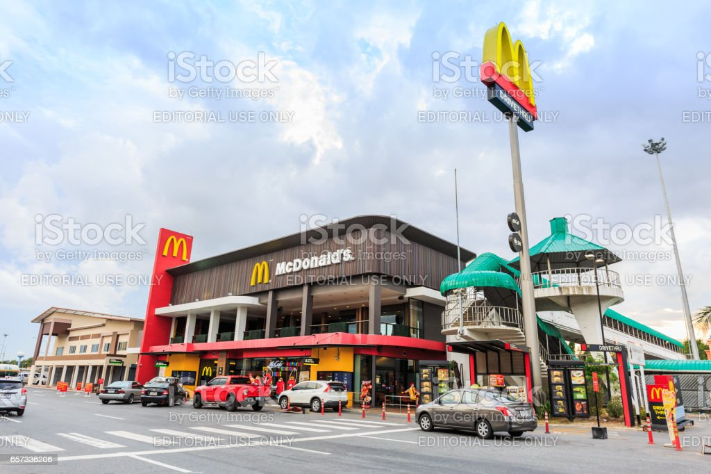 BANGPAKONG, THAILAND- MARCH 22, 2017 : A McDonald's restaurant at the Motorway Rest Area, Bangpakong district, Chachoengsao province, It is the largest restaurant on this road in Thailand. stock photo