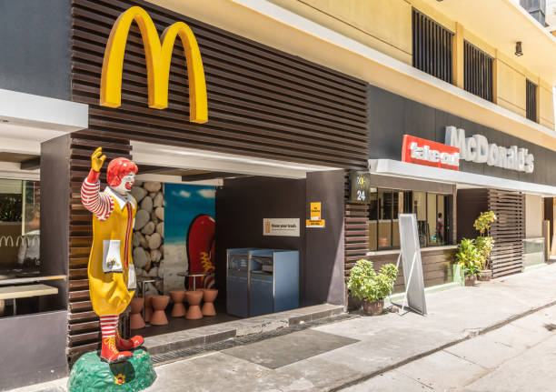 McDonalds restaurant on Sunset Allee off White Beach, Balabag, Boracay, Philippines. stock photo