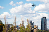 MELBOURNE, AUSTRALIA - MARCH 14: An Royal Australian Air Force FA18A Hornet performs in a public display above Melbourne on March 14, 2015