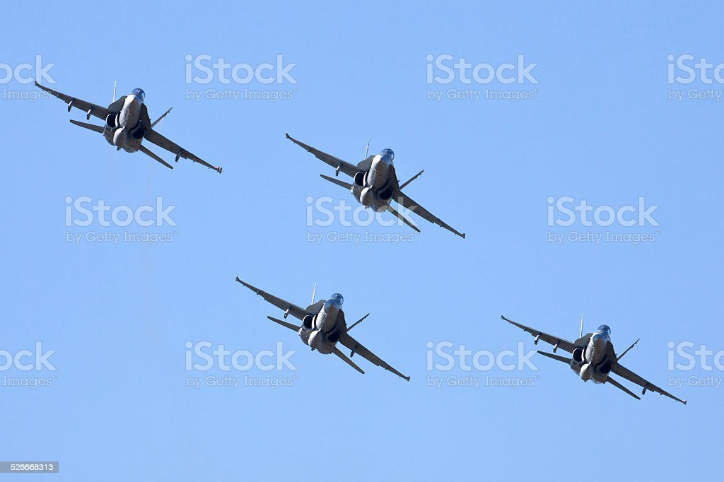 McDonnell Douglas FA-18 aircraft flying in formation stock photo