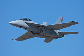 FA-18 airplane against a blue sky.