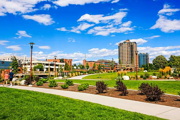 McEuen Park in Coeur d'Alene in Idaho stock photo