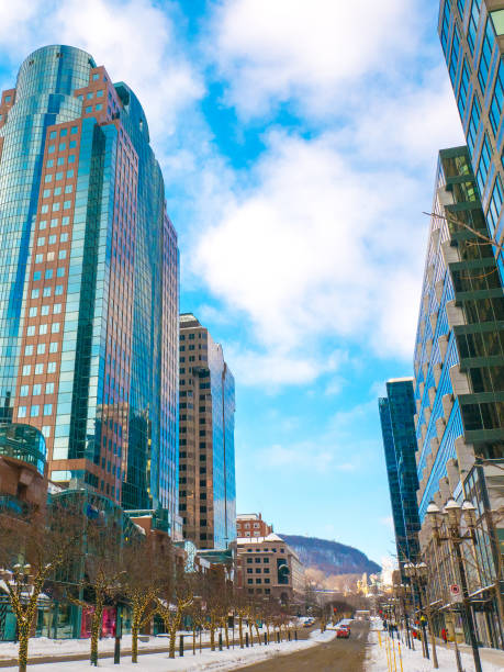 McGill Street in the downtown of Montreal, Canada. stock photo