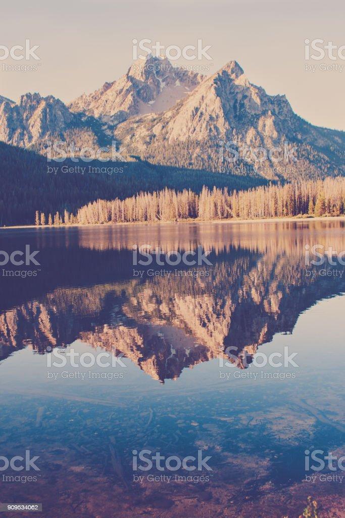 McGown Peak over Stanley Lake stock photo