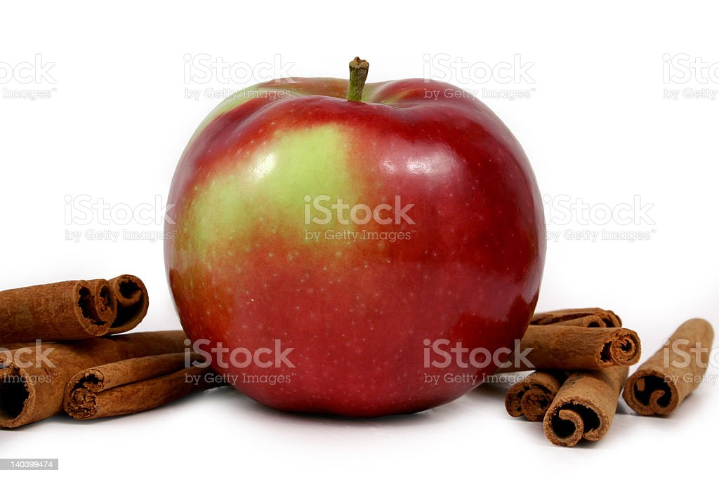 mcintosh apples and cinnamon stock photo
