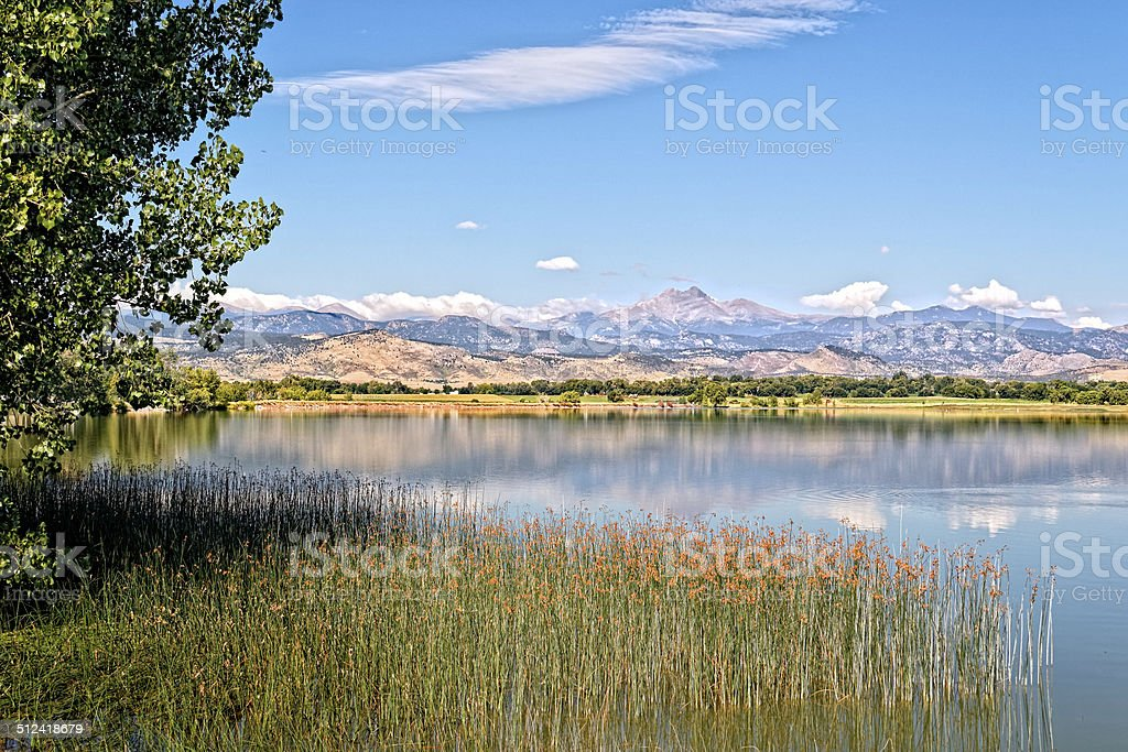 McIntosh Lake and Longs Peak in Longmont Colorado stock photo