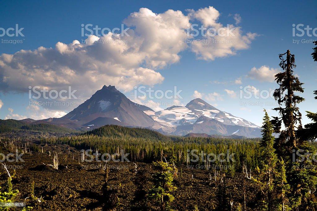 Mckenzie Pass Three Sisters Cascade Mountain Range Lava Field stock photo