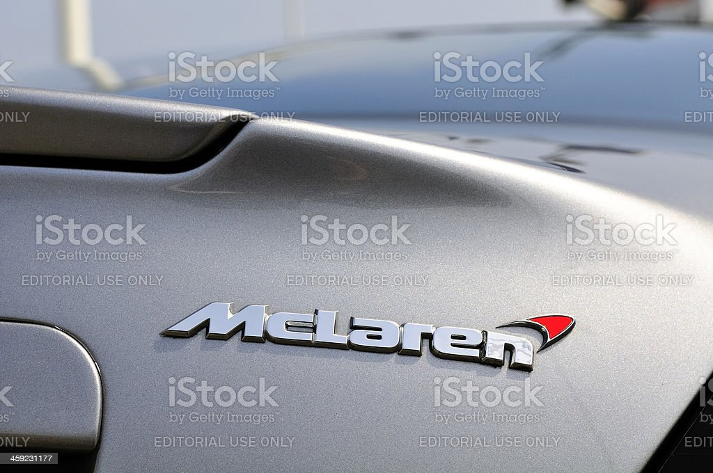 McLaren logo on a McLaren Mercedes SLR sports car stock photo