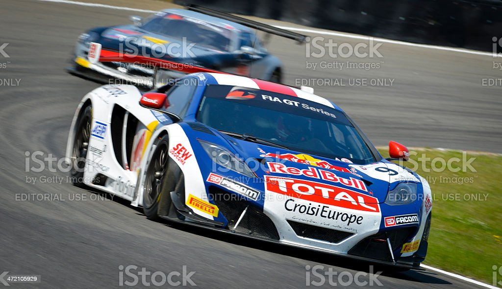McLaren MP4-12C race car at the racing track stock photo