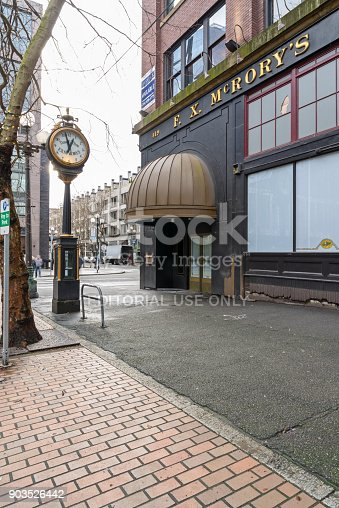 Seattle, USA - January 8th 2018 FX McRory's Sports Bar near Pioneer Square and Century Link Field.  The bar is a classic gathering place before Seahawks, Sounders and Mariners games.  It is currently under construction.