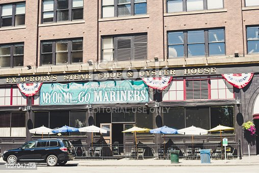Seattle, United States -  July 27th 2014  F.X. McRory's Steak Chop & Oyster House waiting the baseball fans of Seattle Mariners ear Safeco Field Ballpark, Seattle Washington.
