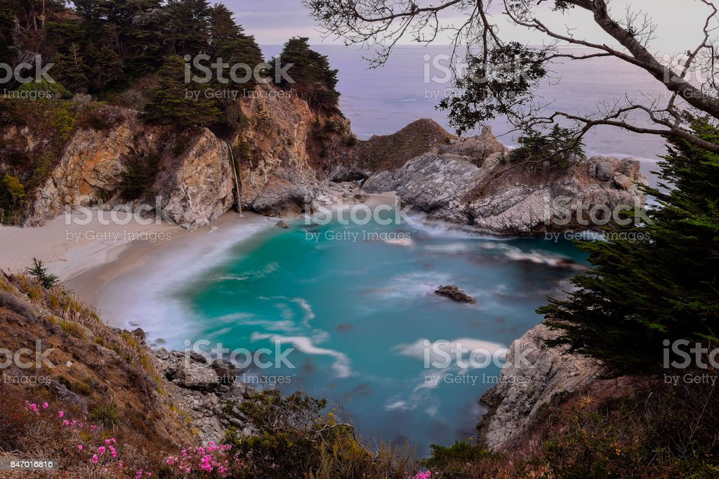 McWay Falls at Big Sur of California stock photo