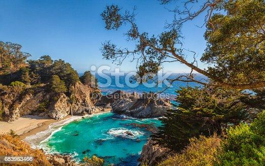 Rocky shoreline of Big Sur coastline south of Carmel, California